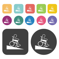 Person on a wheel chair and inclined ramp icon. Disabled Related