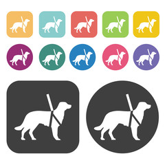 Guide dog icon. Disabled Related icons set. Round And Rectangle