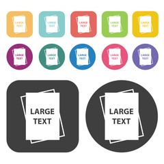 Large text document icon. Disabled Related icons set. Round And