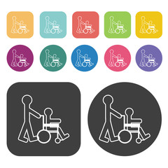 Assisting person in a wheel chair icon. Disabled Related icons s