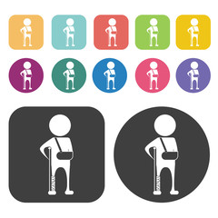 Person with broken leg and arm icon. Disabled Related icons set.