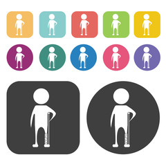 Person with broken leg icon. Disabled Related icons set. Round A