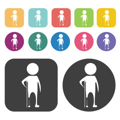 Person with prosthetic leg icon. Disabled Related icons set. Rou