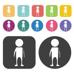 Person with prosthetic arm icon. Disabled Related icons set. Rou