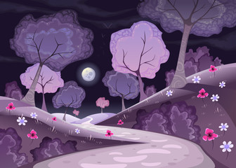 Landscape with trees and path in the night.