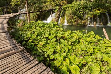 Ponton, cascades et chutes à Plitvice
