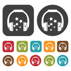 Headphones with stars icons set. Round and rectangle colourful 1