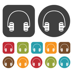 Headphones striped earpiece icons set. Round and rectangle colou