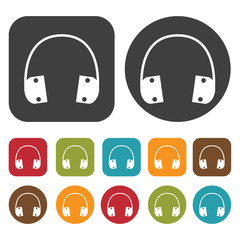 Headphones icons set. Round and rectangle colourful 12 buttons.