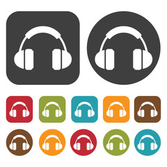 Headphones earpiece with cushion icons set. Round and rectangle