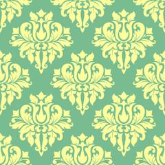 Floral yellow damask seamless pattern