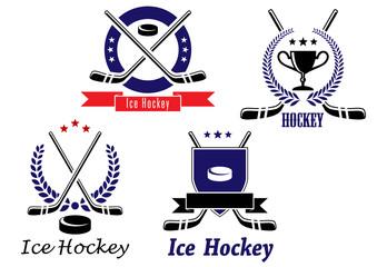 Set of ice hockey emblems