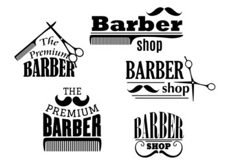 Black retro barber shop icons