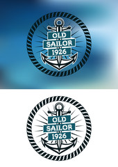 Nautical themed old sailor badge