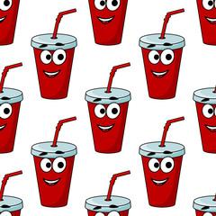 Cartoon takeaway beverage seamless pattern