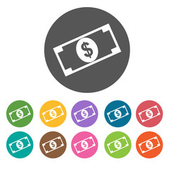 Money bill icon. Money finance icons set. Round colourful 12 but