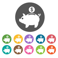 Piggy Bank icon. Money finance icons set. Round colourful 12 but