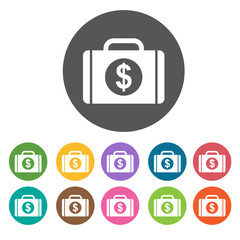 Money Case icon. Money finance icons set. Round colourful 12 but