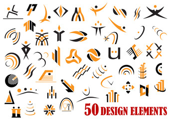 Fifty abstract design elements in black and yellow