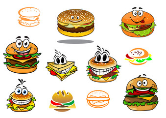 Happy takeaway cartoon hamburger characters