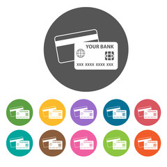Credit Cards icon. Money finance icons set. Round colourful 12 b