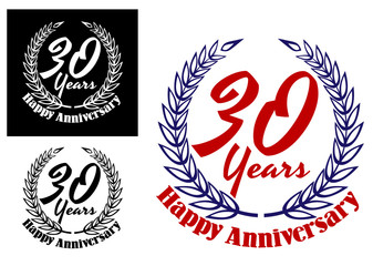 30 years Happy Anniversary icons
