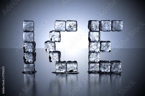 canvas print picture Ice Cube letters ICE - blue gradient