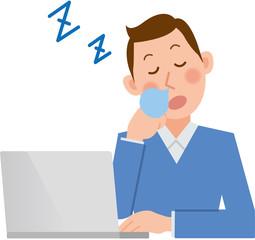 男性 パソコン 寝る
