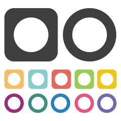 Stop symbol icon. Mouse cusor sign icons set. Round and rectangl