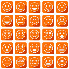 Vector square icons of smiley faces with long shadows