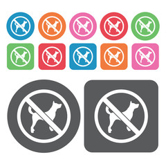 No Dogs Icon. Prohibited Signs Icons Set. Round And Rectangle Co