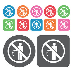 No Littering Icon. Prohibited Signs Icons Set. Round And Rectang