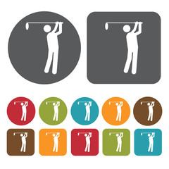Playing Golf Icon. Recreation Icons Set. Round And Rectangle Col
