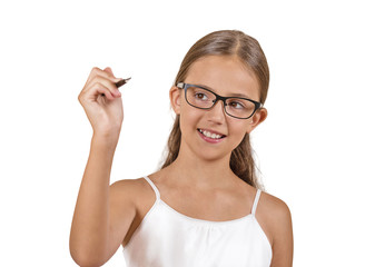 girl student with glasses writing with pen white background