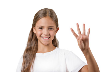 happy smiling girl showing 4 fingers white background