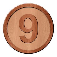 Jeton en bois : 9