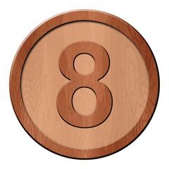 Jeton en bois : 8