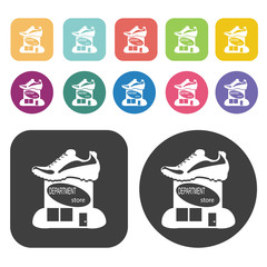 Department Store With Shoe Sign Icon. Store Icon Sets. Round And