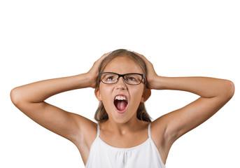 Headshot overwhelmed teenager girl screaming stressed