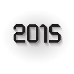 2015 Happy New Year Origami Long Shadow schwarz weiß
