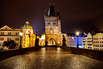 Charles Bridge in Prague at night