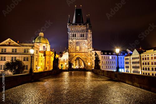 Aluminium Praag Charles Bridge in Prague at night