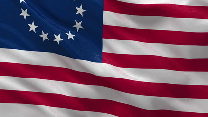 Betsy Ross flag in the wind. Loop ready with high quality fabric