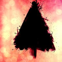 christmas tree design, grunge bokeh background