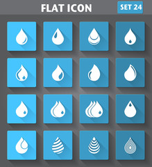 Drop Icons set in flat style with long shadows.