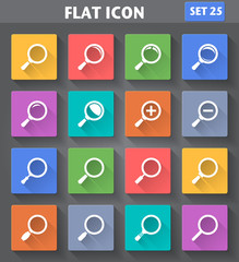 Magnifier Glass and Zoom Icons set in flat style with long shado