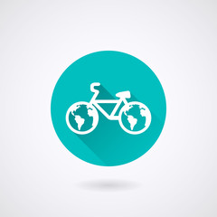 Bicycle Icon in flat style with long shadows.