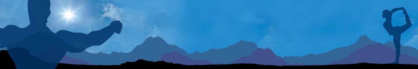 fb2 FitnessBanner - relaxing2 - mountain backdrop - 6to1 - g1860