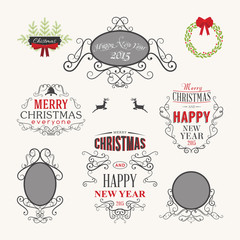 Christmas decoration set of calligraphic design elements