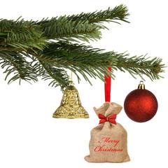 weihnachtlich dekorierter Tannenzweig - merry christmas